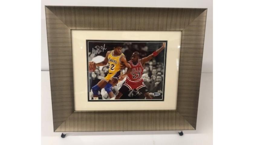 Magic Johnson Signed Photograph with Michael Jordan
