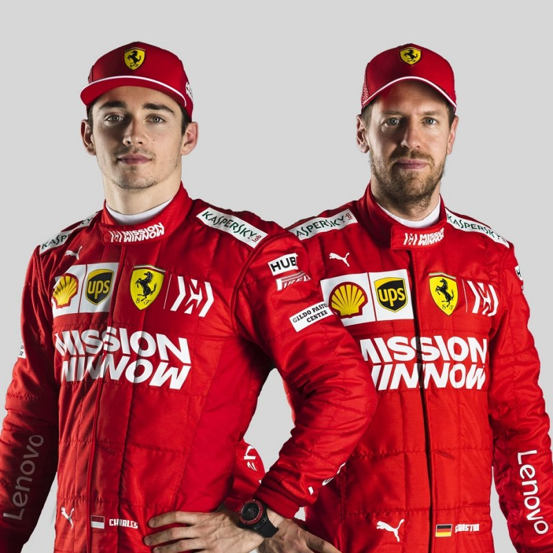 Ferrari Cap Signed by Vettel and Leclerc