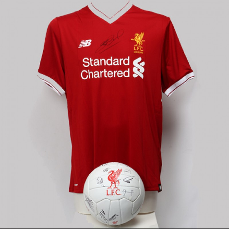 2017/2018 Liverpool FC Shirt Signed by Steven Gerrard and Football Signed by the First Team