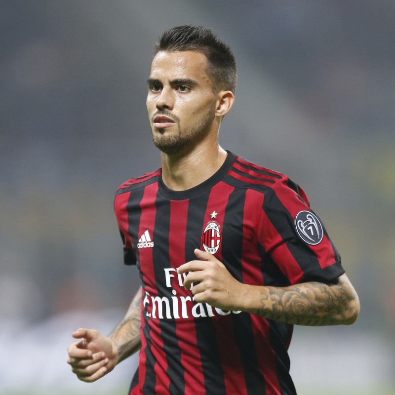 Suso's Signed Match-Issued 2017 Milan-Bologna Shirt