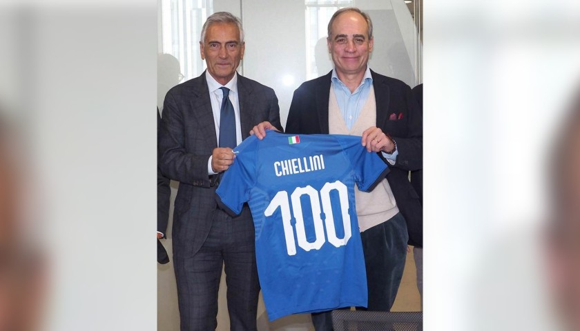 on sale 50ff4 9719e Chiellini's Authentic 100 Caps Italy Signed Shirt - CharityStars