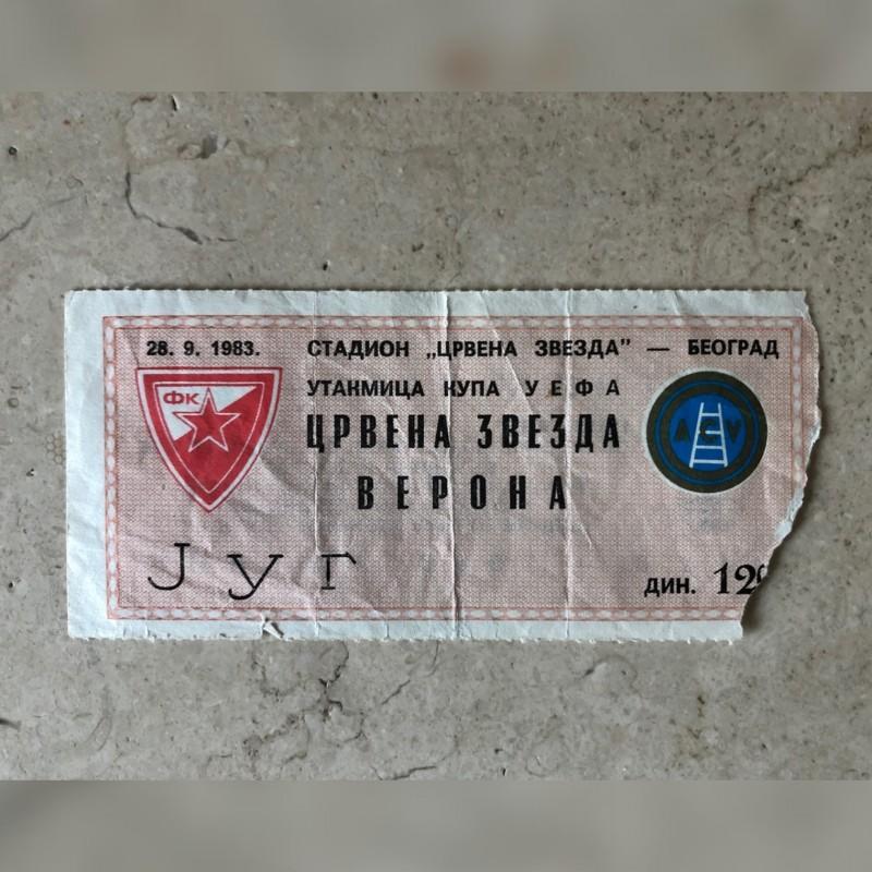 Original Ticket Red Star Belgrade-Hellas Verona, 1983