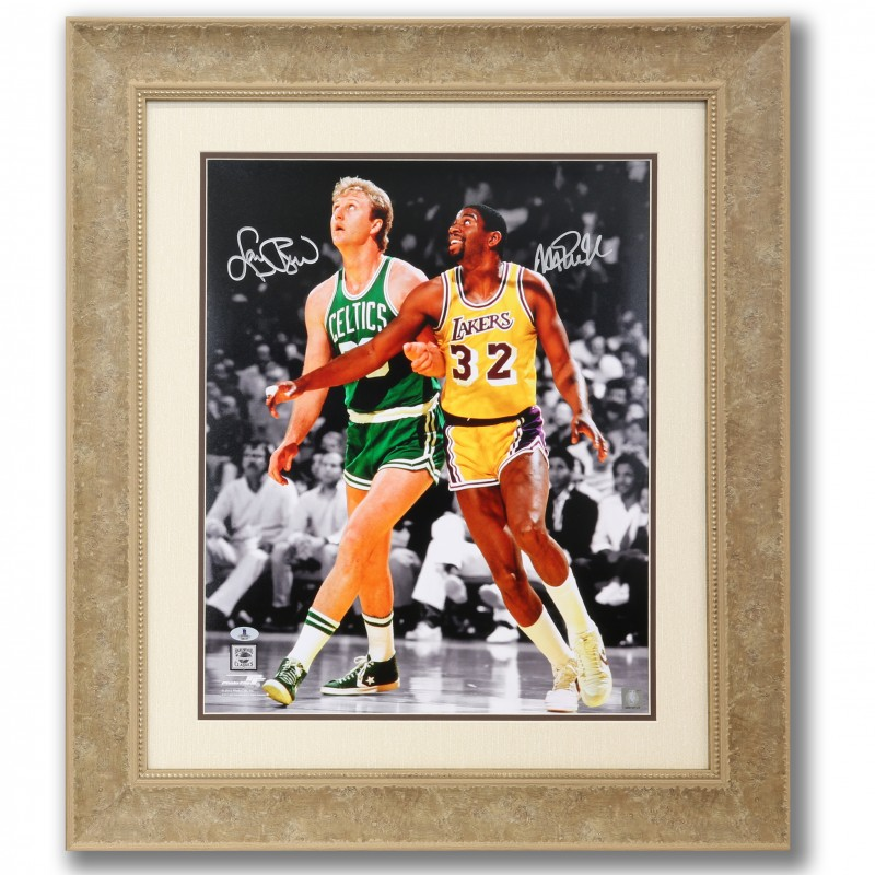 Larry Bird vs Magic Johnson Autographed Photo