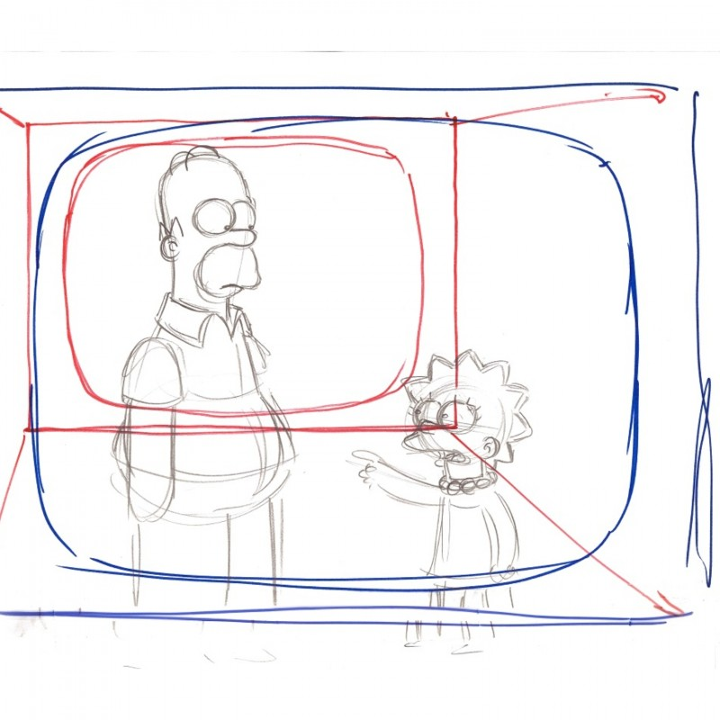 The Simpsons - Original Drawing of Homer and Lisa Simpson