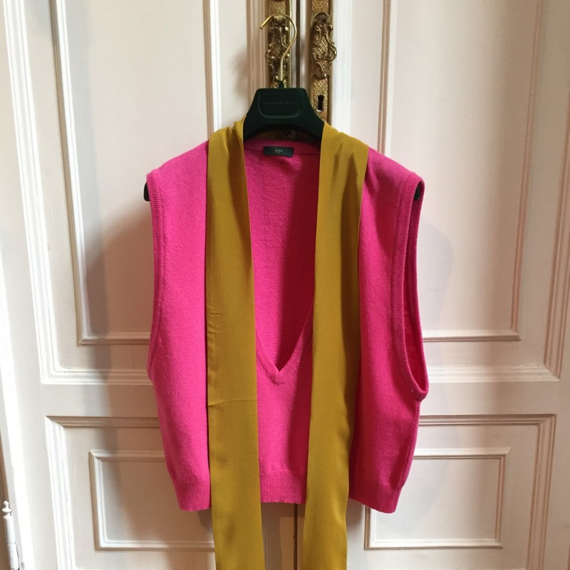 Jejia Grace Gilet in Pink Lambswool and Silk