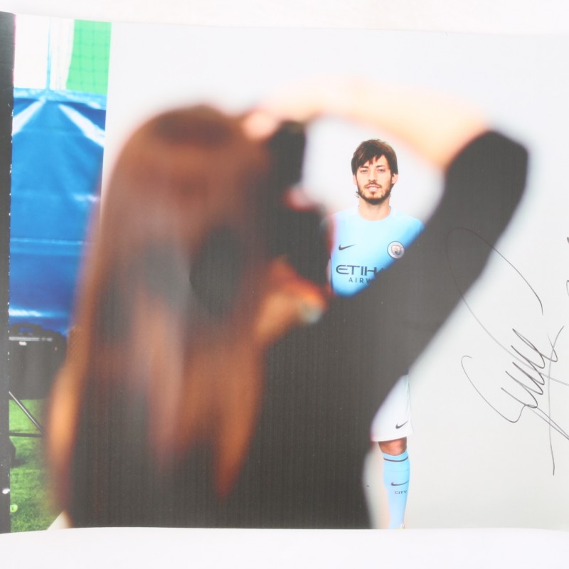 David Silva's Manchester City Kit Launch Signed Picture