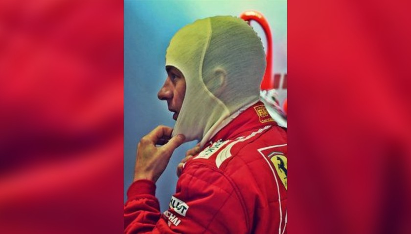 Ferrari Balaclava Worn and Signed by Kimi Räikkönen