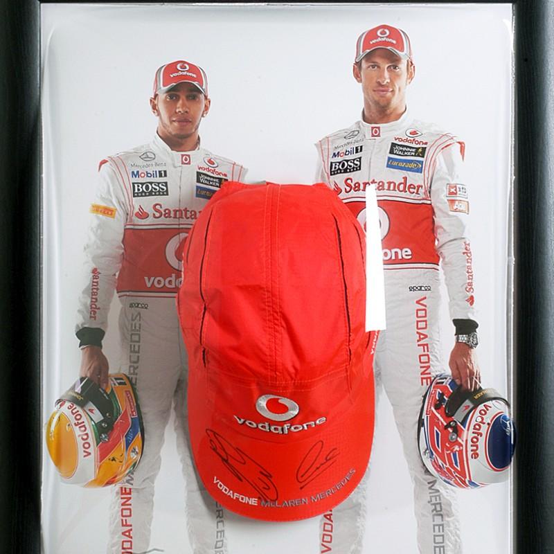 Formula 1 Official McLaren Cap Signed by Button & Hamilton Presentation