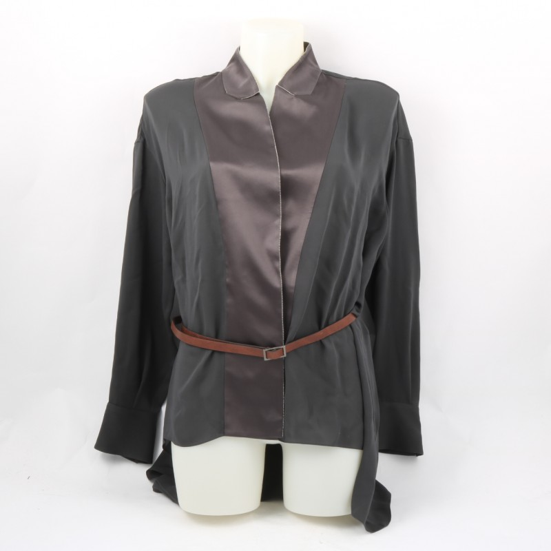 Brunello Cucinelli Georgette Crepe Shirt with Belt