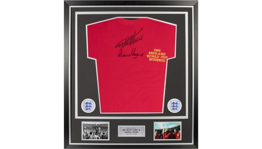 England 1966 World Cup Winners Framed Shirt Signed by Sir Geoff Hurst & Martin Peters