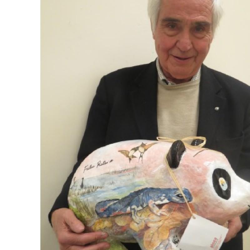 Beautiful recycled model of a Panda, signed by Fulco Pratesi