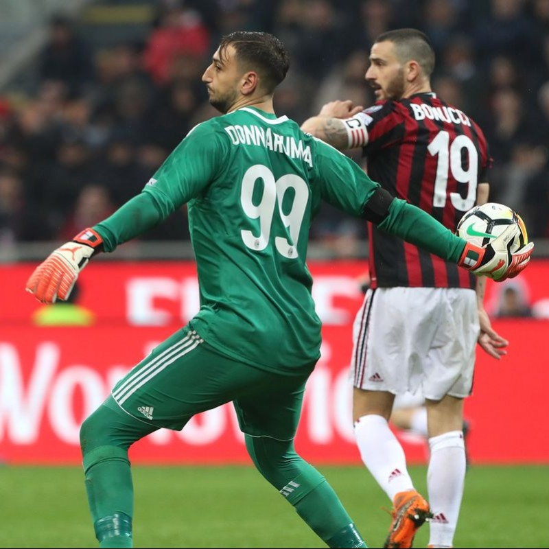 Donnarumma's Unwashed Match-Worn Milan-Inter Shirt with Special Patch