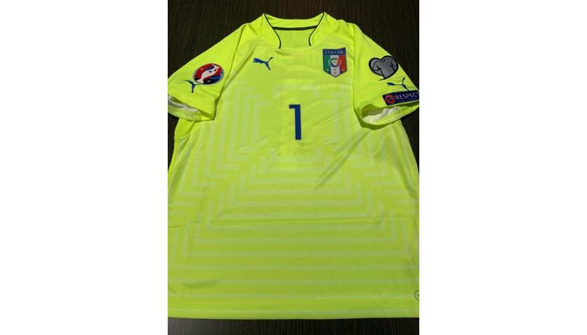 Buffon's Italy Signed Match Shirt, Euro 2016 Qualifiers
