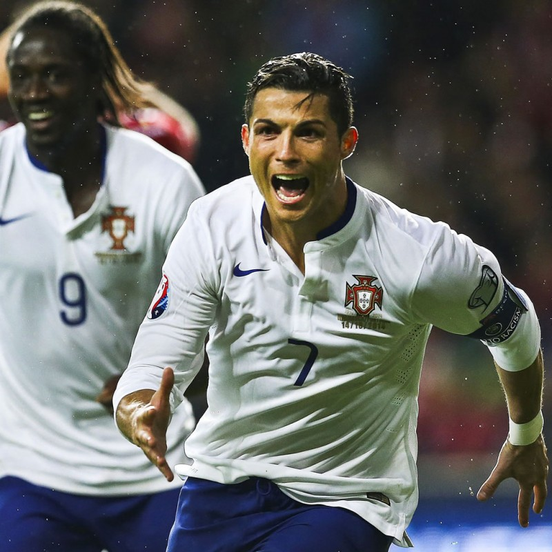 Ronaldo's Match-Issued/Worn Shirt, Denmark-Portugal 2014