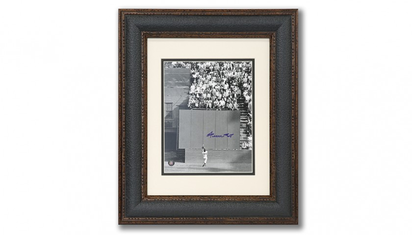 World Series Catch Photograph Signed by Willie Mays