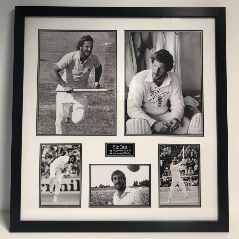 Signed Ian Botham Photo Display