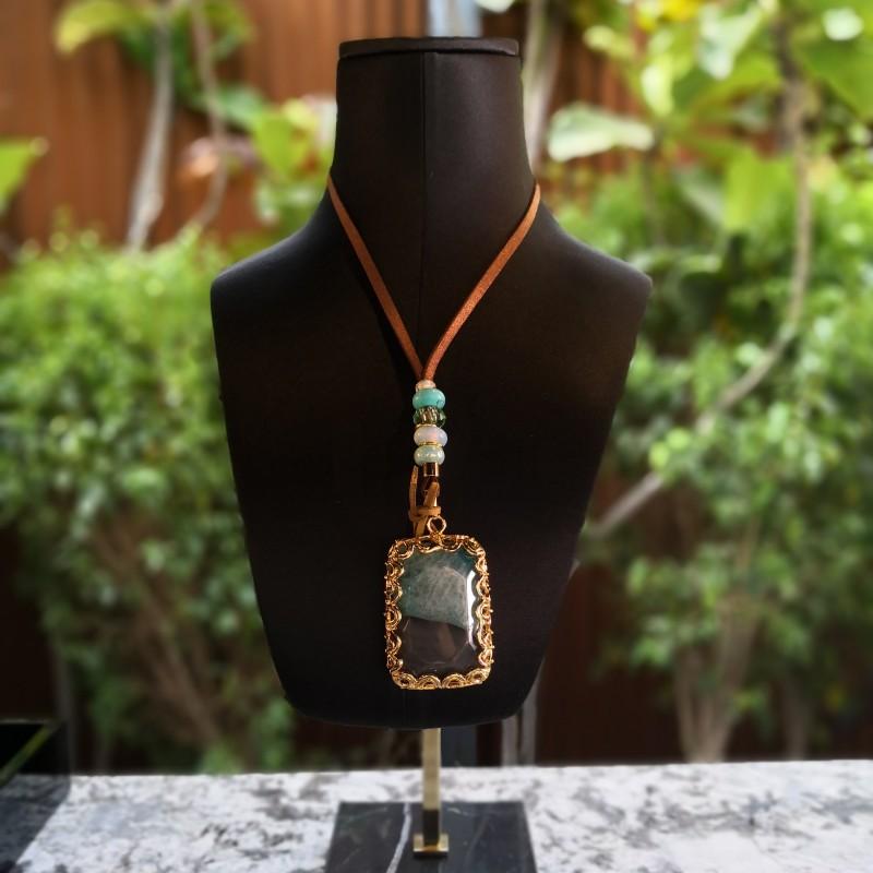 Agate Pendant by Valdeperlas - GREEN