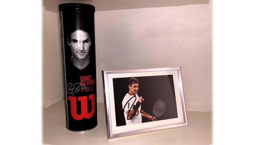 Roger Federer Signed Photograph + Tube of Tennis Balls