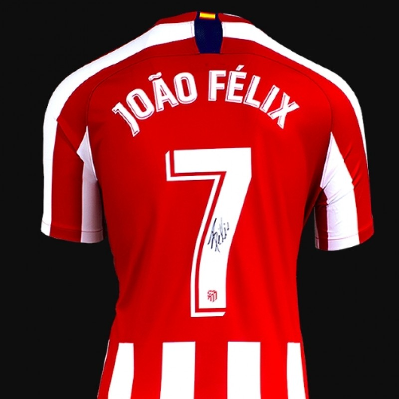 Joao Felix Back Signed Atletico Madrid 2019-20 Home Shirt