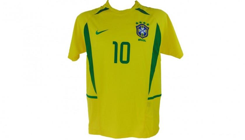 c73ce2687 Official 2002 Brazil Shirt Signed by Rivaldo - CharityStars