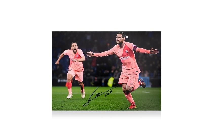 Lionel Messi Official Signed FC Barcelona Photo: Derby Goal vs Espanyol