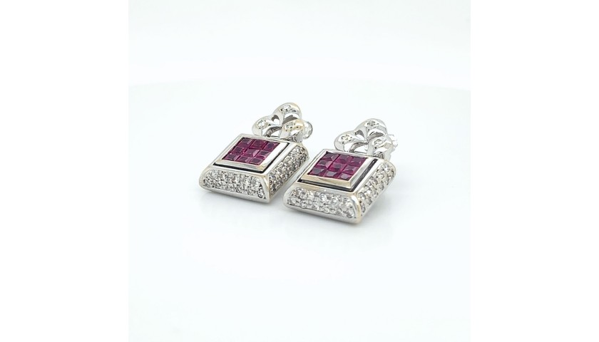 18KT White Gold Ruby Earrings with Diamonds