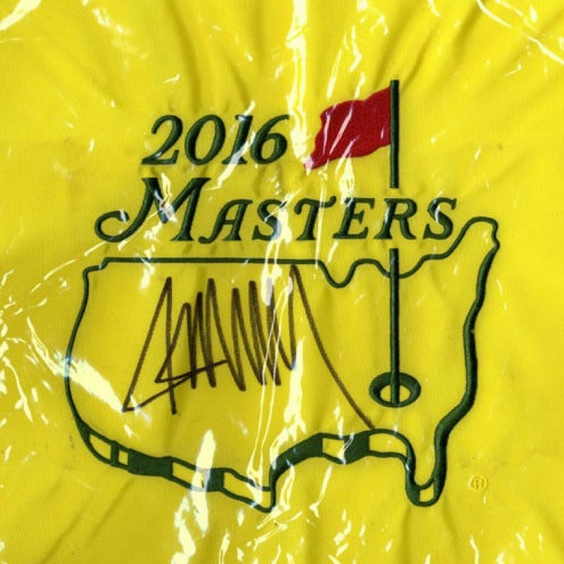 Donald Trump Hand Signed Masters Pin Flag