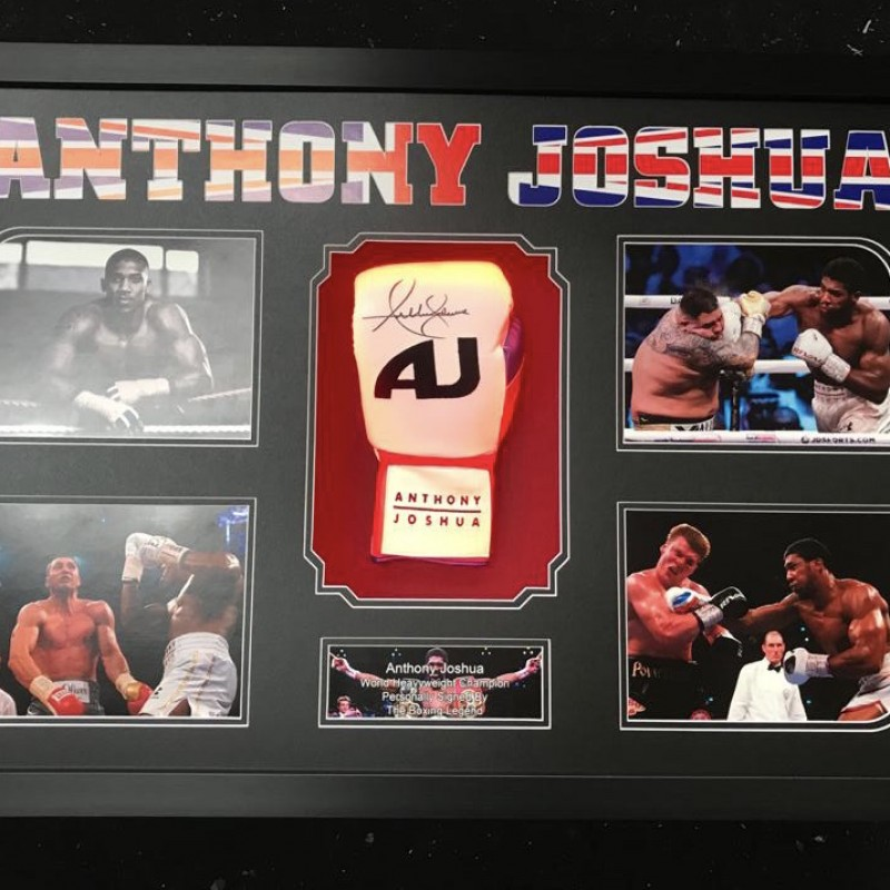 A Signed Glove and Photo Display of World Heavyweight Boxing Champion, Anthony Joshua