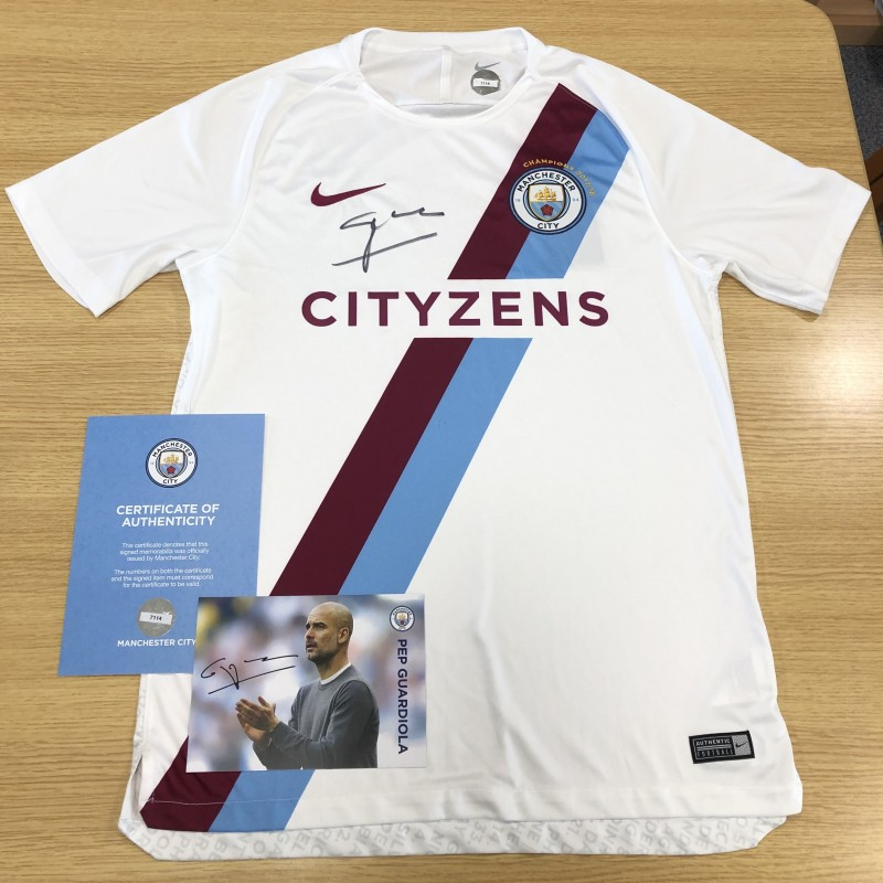 Premier League Champions 2017/18 Manchester City Shirt Signed by Pep Guardiola
