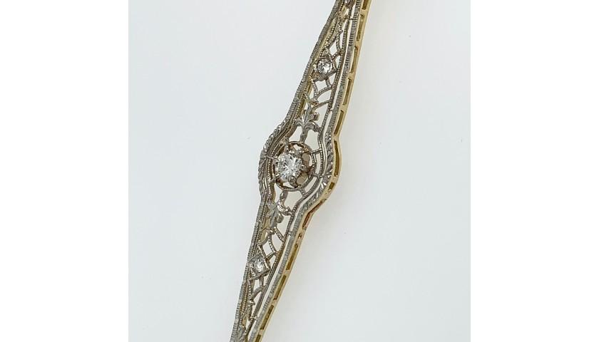 14KT Two-Tone Vintage Diamond Pendant