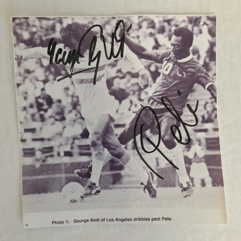 Sticker Signed by George Best and Pelé