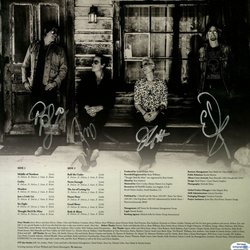 Stone Temple Pilots Hand Signed Album Sleeve
