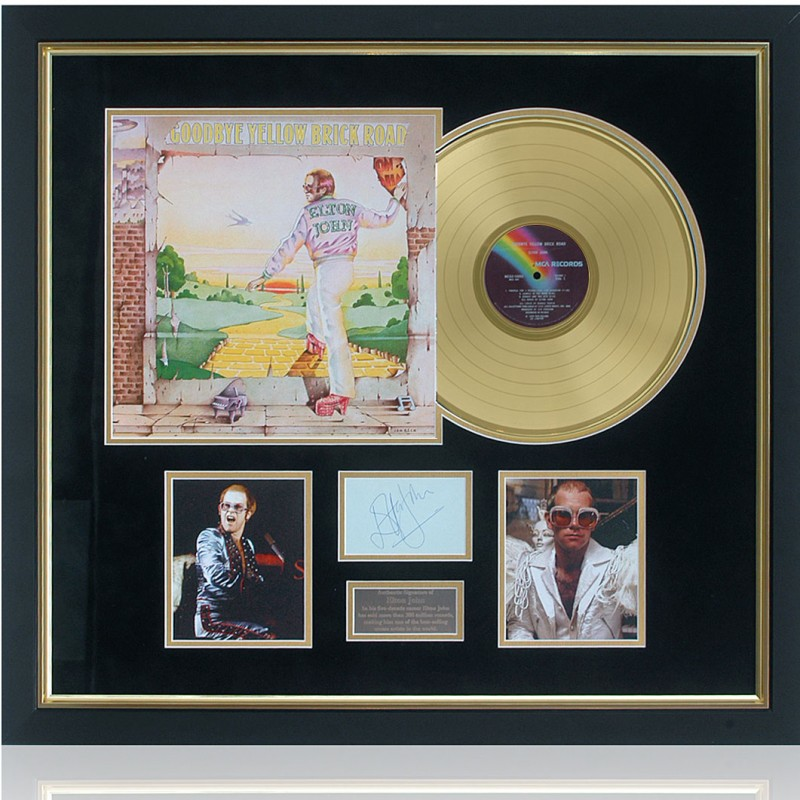 Elton John Hand Signed Yellow Brick Road Gold Disc Presentation