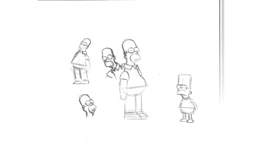 The Simpsons - Original Drawing of Homer and Bart Simpson