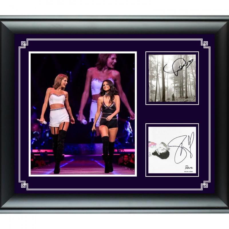 Taylor Swift & Selena Gomez Hand Signed, Custom Framed Display