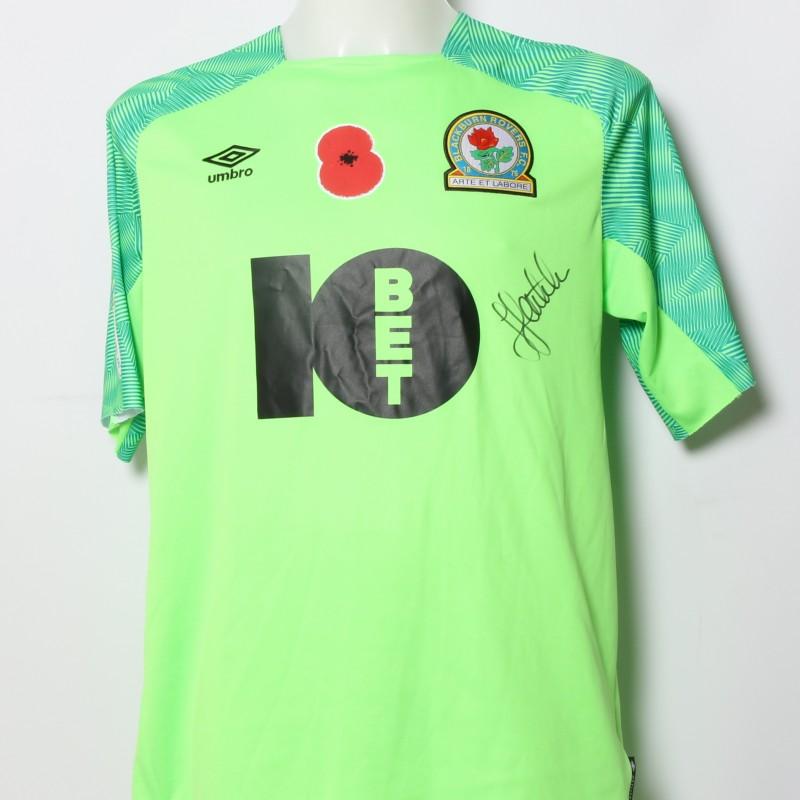 Jayson Leutwiler's Match-Worn Blackburn Rovers Signed Poppy Home Shirt