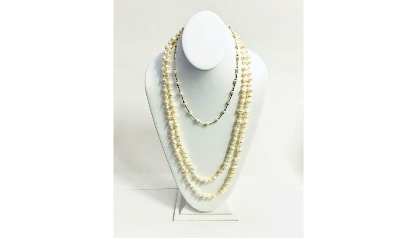 "9f5b77b0e1c2e 60"" Pearl Strand and 14KT Yellow Gold Pearl Necklace - CharityStars"