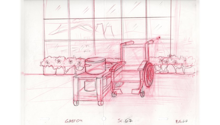 The Simpsons - Four Original Background Drawings