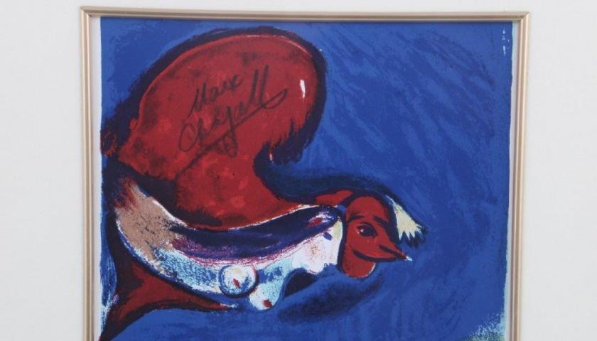 """Lithograph """"Femme oiseux"""" Marc Chagall paint, 1950"""