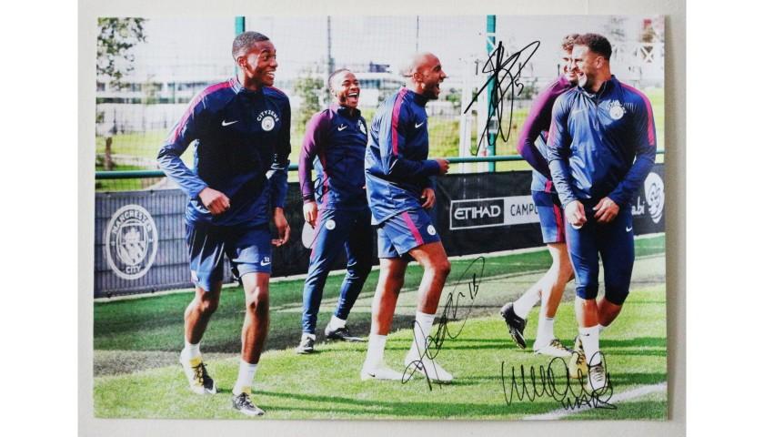 Raheem Sterling, Fabian Delph, Kyle Walker and  John Stones Manchester City FC A2 Signed Photograph