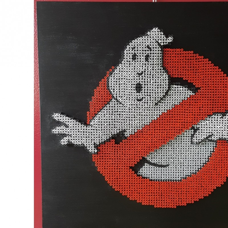 """Ghostbusters "" - acrylic on 4000 self-tapping screws - Drill Monkeys Art Duo - 80x80x7 cm"