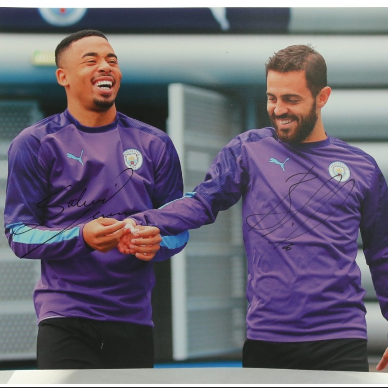 """Manchester City's Gabriel Jesus & Bernardo Silva in Training"" Signed Picture"