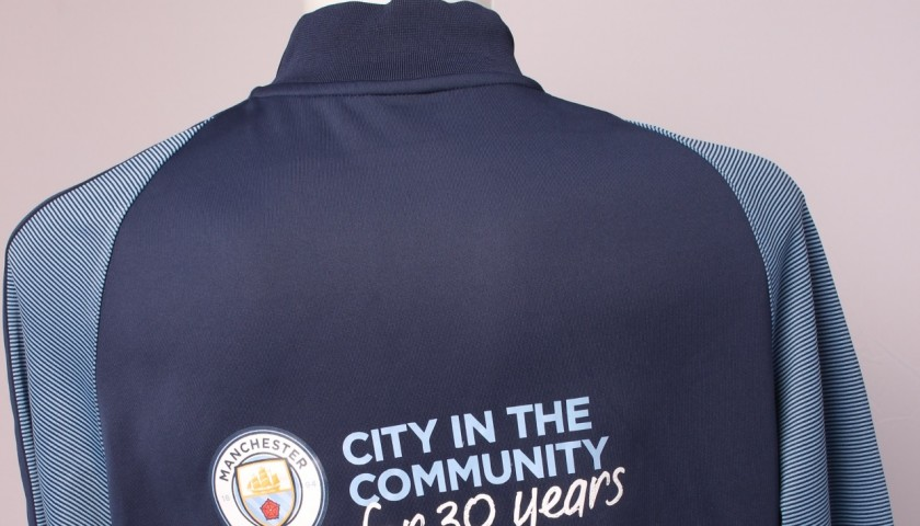 Kompany Worn and Signed Manchester City Walk-Out Jacket