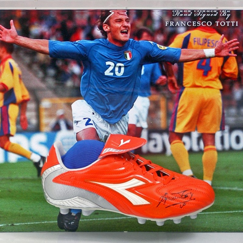 Francesco Totti Hand-Signed Italy Football Boot Presentation