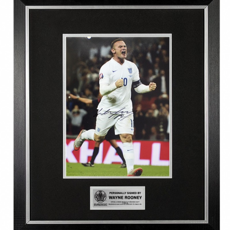 Rooney Official UEFA EURO 2020 Signed and Framed England Photo