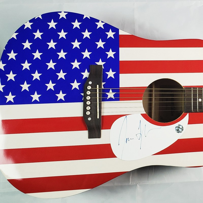 James Taylor Hand Signed American Flag Acoustic Guitar