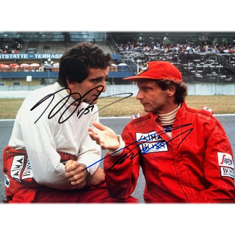 Photograph Signed by Alain Prost and Niki Lauda - 1997