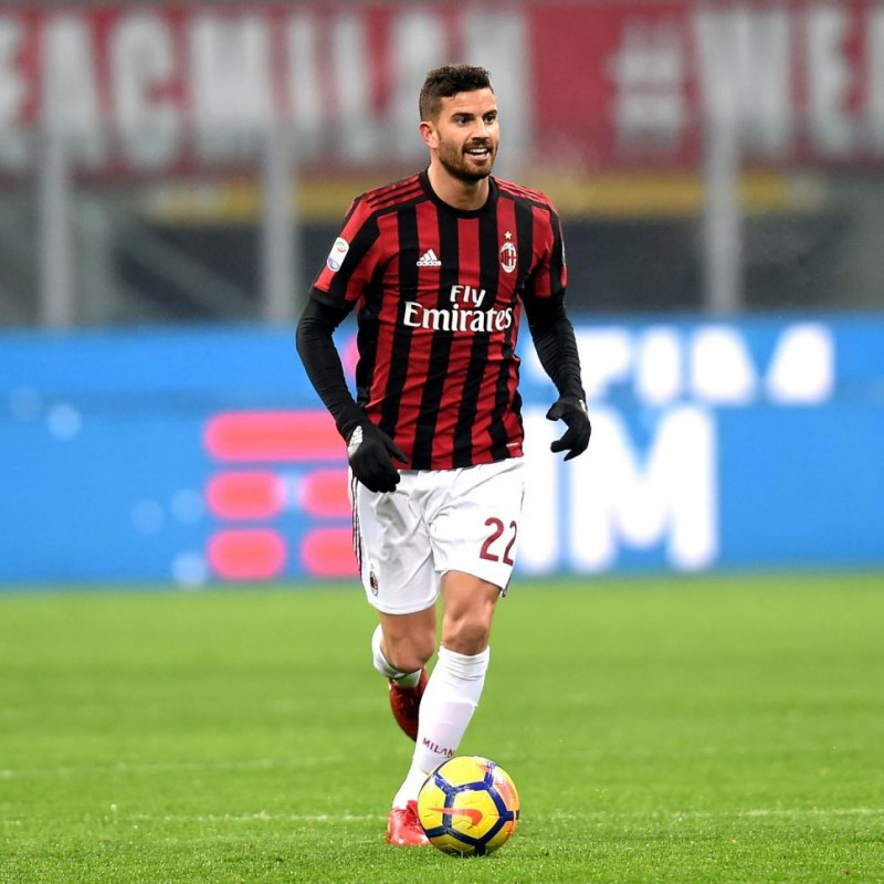 Musacchio's Signed Match-Issued 2017 Milan-Bologna Shirt