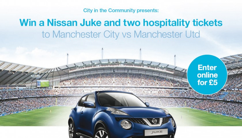 Win a Nissan Juke and two hospitality tickets to Manchester City vs Manchester United at the Etihad Stadium