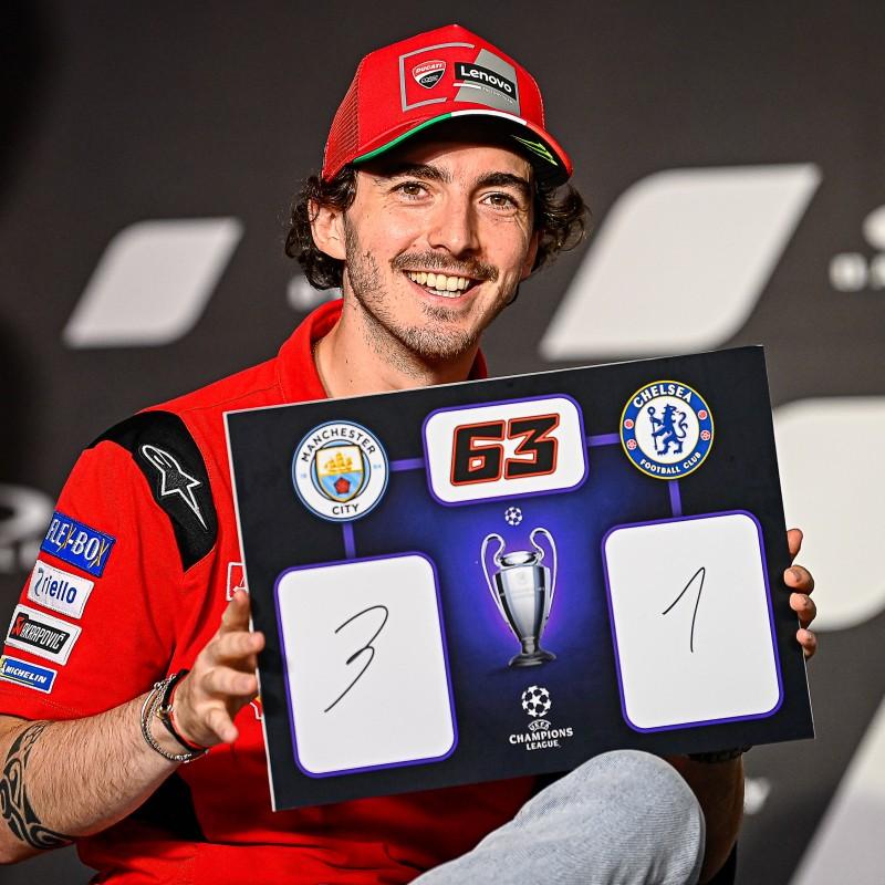 Signed Champions League Final Score Prediction Board, Signed by Francesco Bagnaia